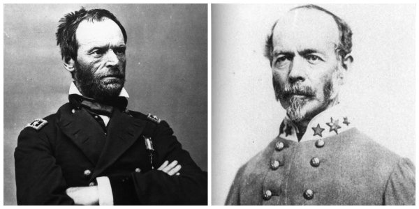 Generals W.T. Sherman and J.E. Johnston | Image Credit: Bing public domain