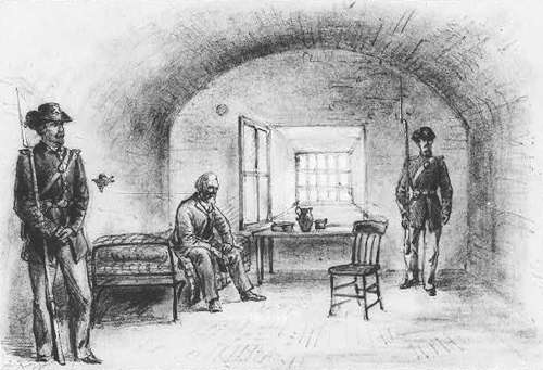 Alfred Waud sketch of Jefferson Davis jailed at Fort Monroe | Image Credit: Wikispaces.com