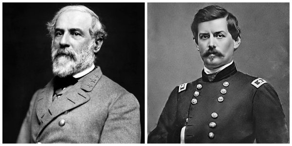 Gen. R.E. Lee, CSA and Maj Gen G.B. McClellan, USA | Image Credit: Wikispaces.com