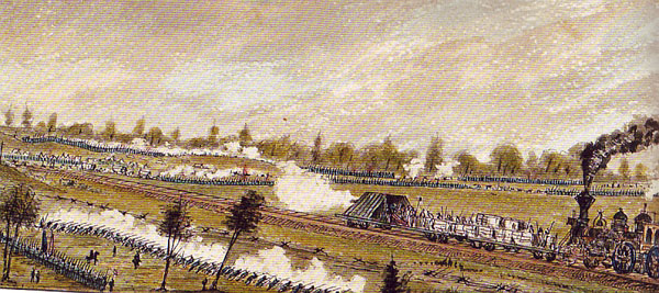 The fight at Savage's Station, including the armored railroad battery | Image Credit: CivilWarDailyGazette.com