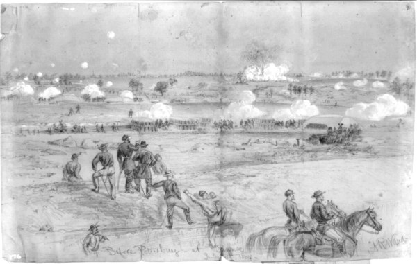 The Battle of the Crater, Sketched by Alfred Waud | Image Credit: Wikimedia.org