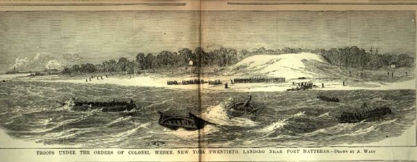 Federal troops landing at Hatteras Inlet | Image Credit: CivilWarDailyGazette.com