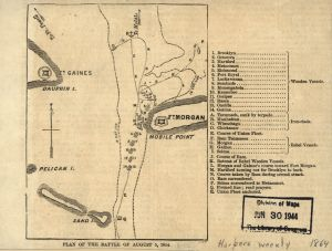 Federal battle plan at Mobile Bay | Image Credit: CivilWarDailyGazette.com
