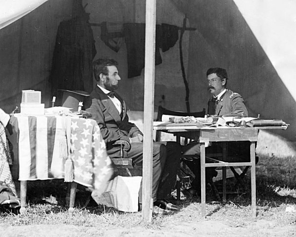 Lincoln and McClellan conversing   Image Credit: Wikispaces.org