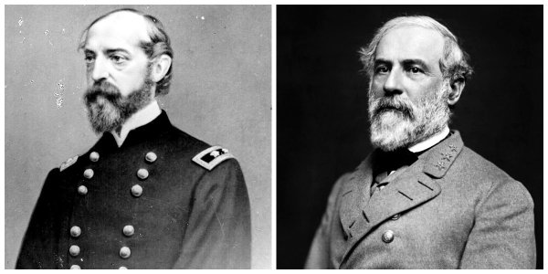 Federal Maj Gen G.G. Meade and Confederate Gen R.E. Lee | Image Credit: Wikipedia.org
