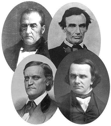 Clockwise from top left: John Bell, Abraham Lincoln, Stephen Douglas, and John Breckinridge | Image Credit: Wikipedia.org
