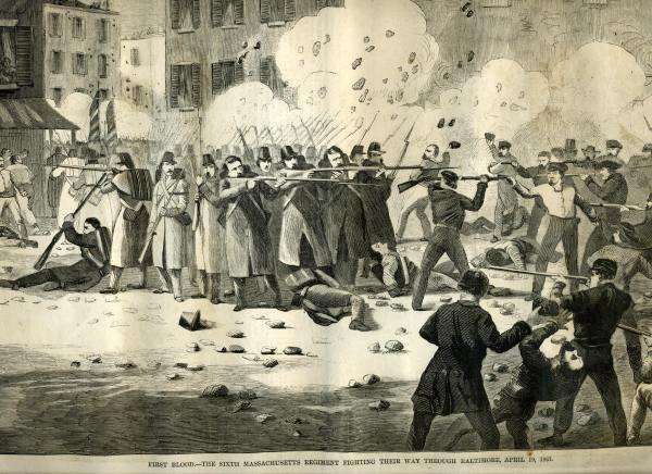 Massachusetts Soldiers Firing into a Baltimore Crowd | Image Credit: CivilWarDailyGazette.com