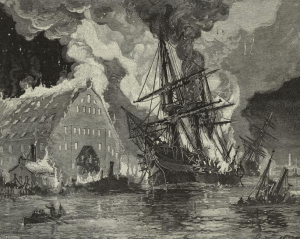 Burning of U.S.S. Merrimack at Norfolk | Image Credit: Wikimedia.org