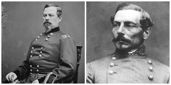 Federal Gen Irvin McDowell and Confederate Gen P.G.T. Beauregard | Image Credit: Wikipedia.org
