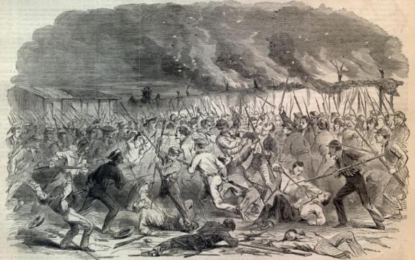 Combat on Santa Rosa Island | Image Credit: CivilWarDailyGazette.com