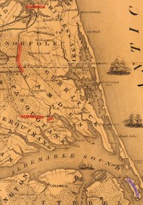 Map of area around Elizabeth City | Image Credit: CivilWarDailyGazette.com