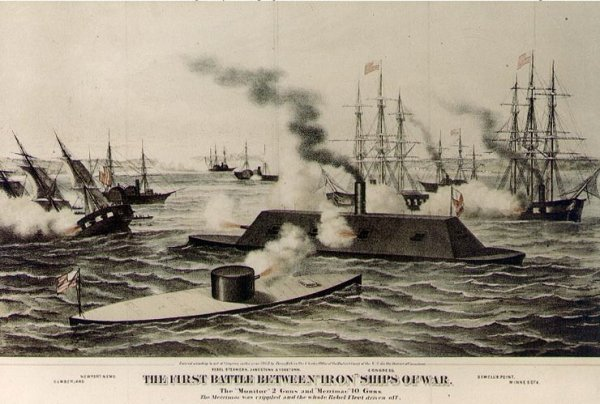 Virginia (Merrimac) v. Monitor | Image Credit: thehistorybomb.com