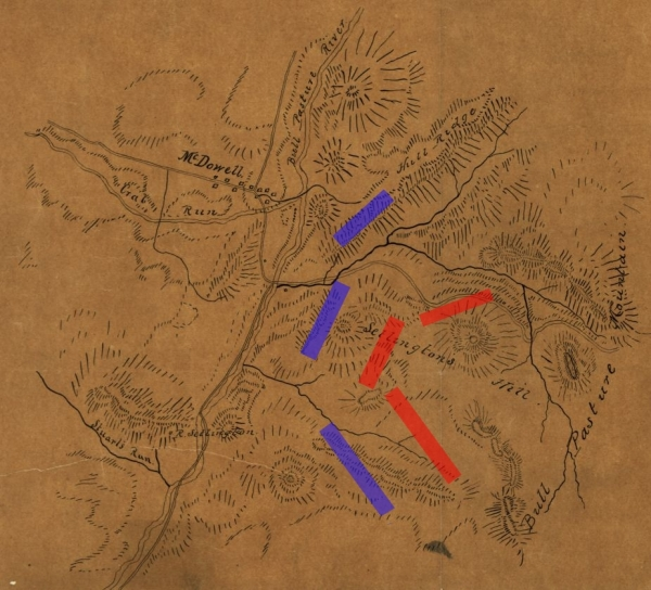 Map of the fight at McDowell | Image Credit: CivilWarDailyGazette.com
